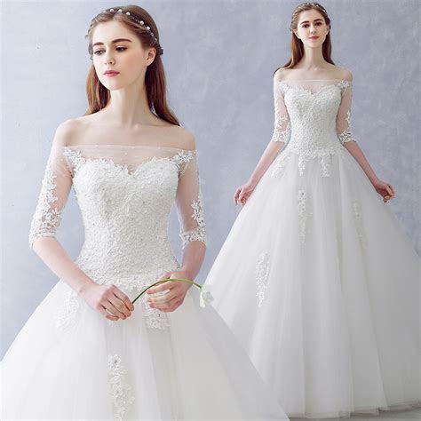 Luxury Sequined Beads Boat Neck Princess Wedding Dress