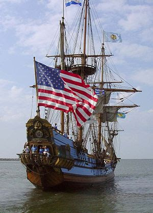 The Kalmar Nyckel leaves Lewes, Delaware, for an evening cruise