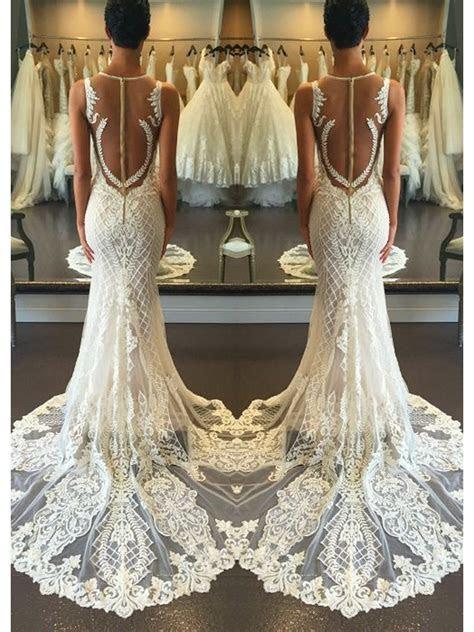 Elegant Mermaid Strap V Neck Beach Wedding Dress