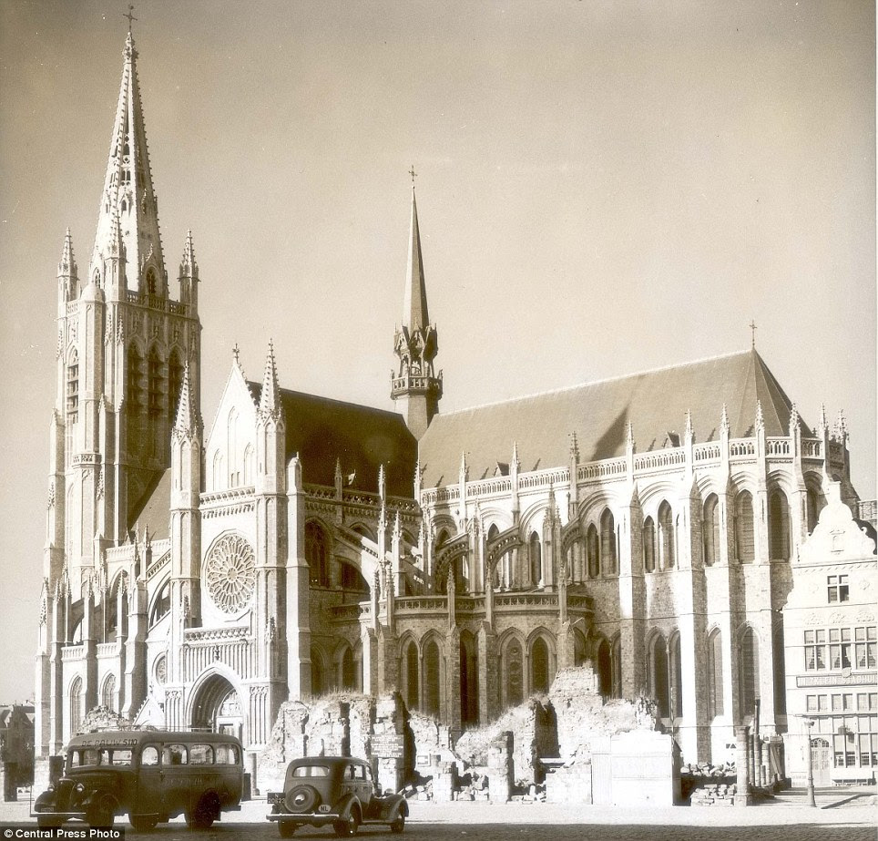 How it looked before: The cathedral was rebuilt to the original Gothic design, with a spire added, as seen here in 1937