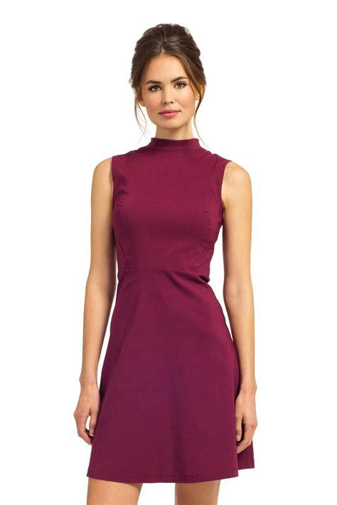 Syrah Sleeveless High Neck Statement Zip Fit & Flare Dress