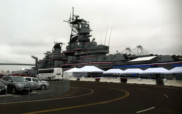 The USS Iowa prior to her re-dedication ceremony at San Pedro's Berth 87 on July 4, 2012.