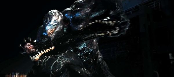Venom clashes with Riot (Riz Ahmed) in VENOM.