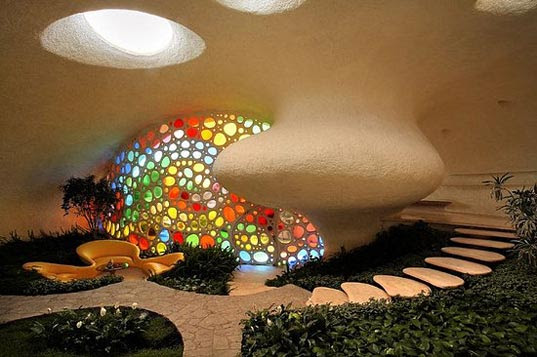 naut7, nautilus, house, stain-glass, Bio-Architecture, Javier Senosiain, snail shell, giant, Habitat Organico, grancrete