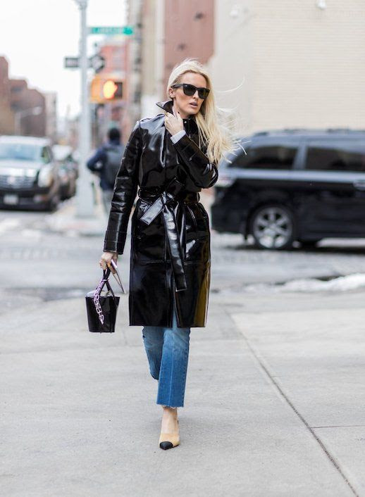 Le Fashion Blog Black Sunglasses Vinyl Trench Coat Raw Hem Jeans Slingback Heels Kate Davidson-Hudson Street Style Via Popsugar