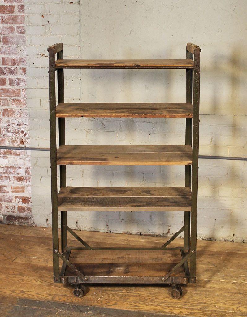 rolling shoe cart rack wood steel vintage industrial 9