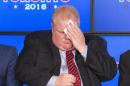 Toronto Mayor Ford wipes face during an announcement that the Toronto Raptors will host the 2016 NBA All-Star game in Toronto