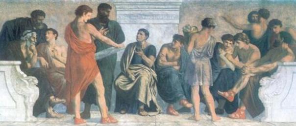 Escuela de Aristóteles, una pintura de los años 1880 por Gustav Adolph Spangenberg.