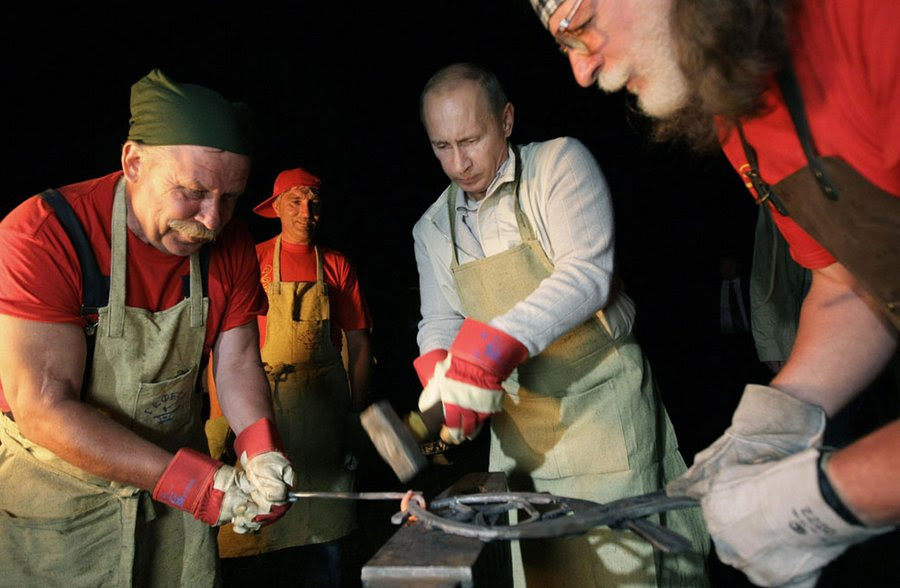 Vladimir Putin at the Museum of Architecture and Ethnography in the Irkutsk region, August 1, 2009.