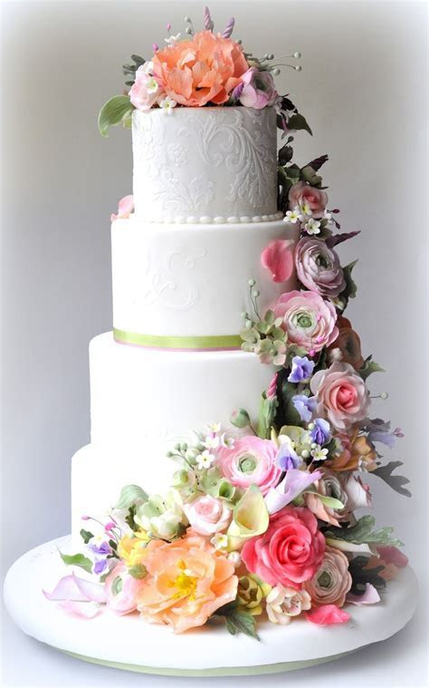 Classic White Wedding Cake with Pastel Flowers (Sorry, no