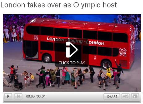 London double decker bus in Olympic Handover - BBC Screengrab