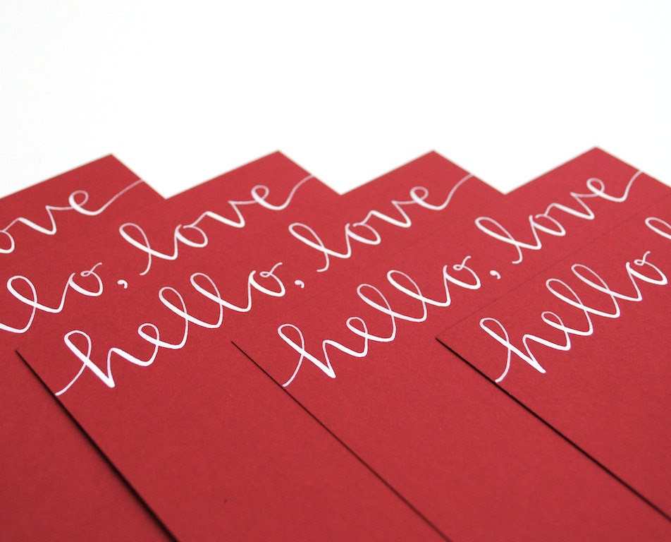 sparrownestscript Valentine Stationery with Handwritten Calligraphy . Hello Love . White Ink on Red . Set of 6 Flat Notecards