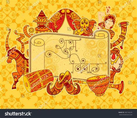 Vector Design Indian Art Style Subh Stock Vector 382146235