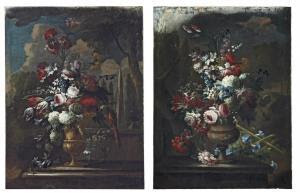 Guillermo Mesquida - Roses, Tulips, Chrysanthemums And Other Flowers In A Sculpted Copper Urn