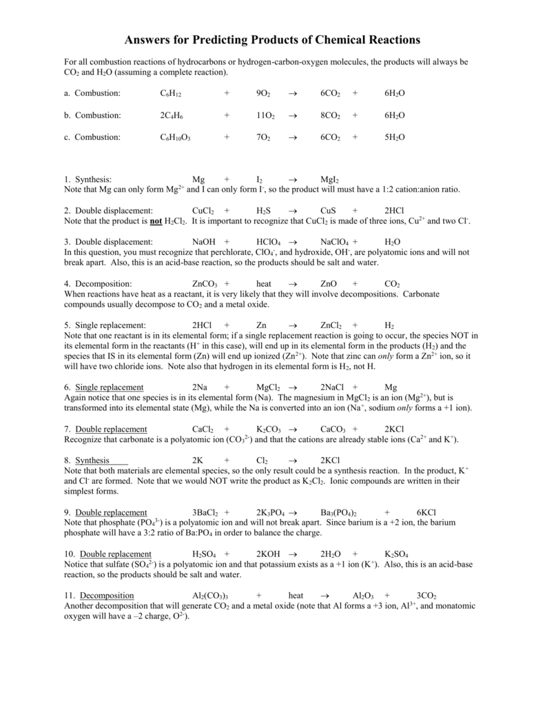 worksheet. Predicting Products Of Chemical Reactions Worksheet. Grass Fedjp Worksheet Study Site