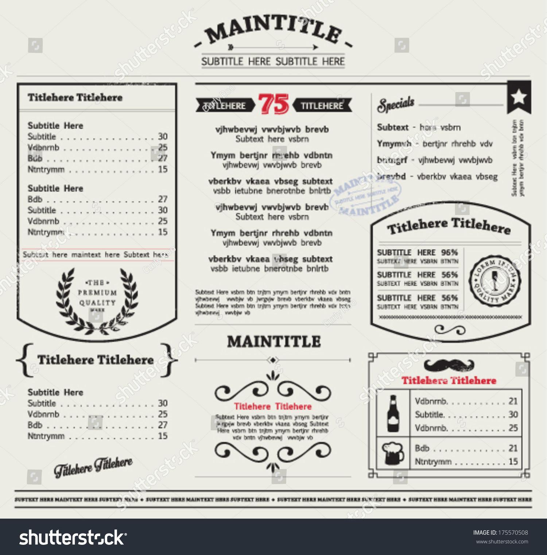 Restaurant Menu Template Frames Graphic Elements Stock Vector ...