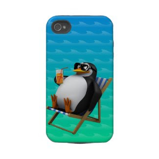Cute 3d Penguin sits in Deckchair Iphone 4 Tough Case
