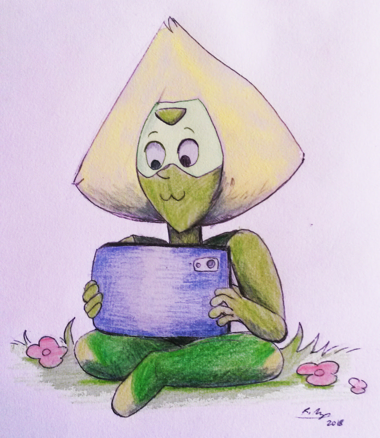while i'm flooding y'all with su reblogs, here's a peridot i doodled today while my tablet wasn't working what are colours