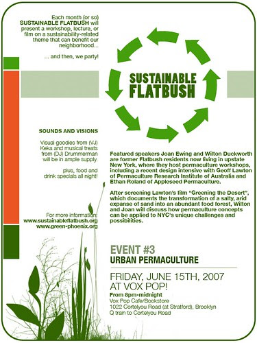 Flyer for Sustainable Flatbush #3: Urban Permaculture