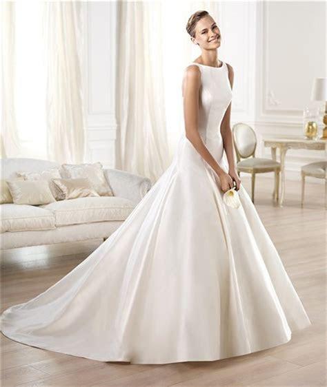 Modest Simple A Line Bateau Neckline Satin Wedding Dress