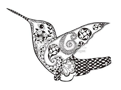 Hermoso Colibrí Zentangle Sketch Del Tatuaje O Camiseta Arte