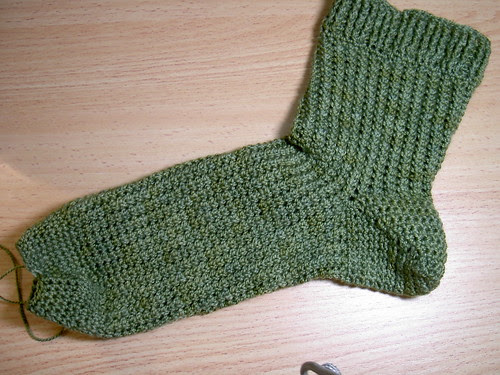 Minicluster lace sock - one almost complete