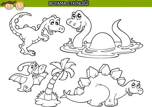 Sevimli Dinozorlar Boyama Etkinliği Meb Ders