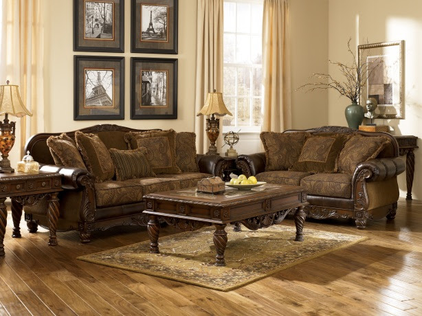 Ashley Furniture Fresco 63100 DuraBlend Antique Living Room Set ...