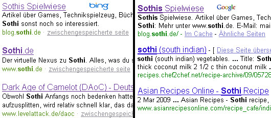 Bing Google Vergleich