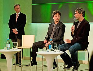 Left to right, Eric E. Schmidt, Sergey Brin an...