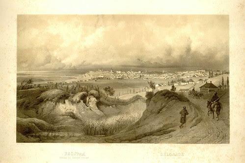 Beograd - izgled sa savske strane - K Gebel (umetnik) E Veikselgartner (lithography) J Haler (stampar) (undated)