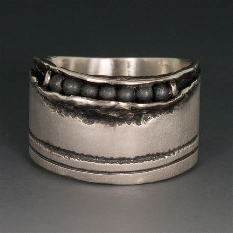 Sterling Silver Wide Band Ring w/Hematite Beads, 12.75mm