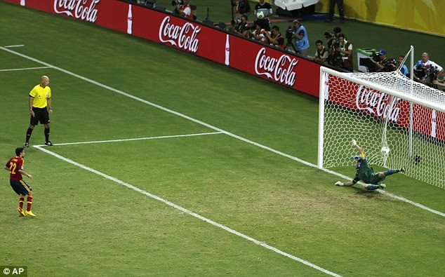 Decisive: Jesus Navas stepped up to score the winning penalty and send Spain to the final