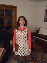 Cori in her new apron