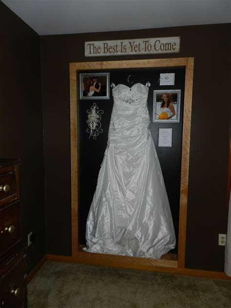 My Wedding Dress shadow Box. This is my Anniversary gift