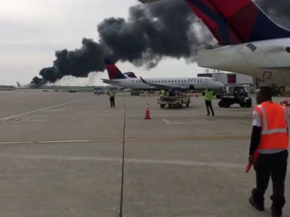 PHOTO: This screengrab from video posted to Instagram shows American Airlines plane on fire at OHare International Airport in Chicago, Oct. 28, 2016.