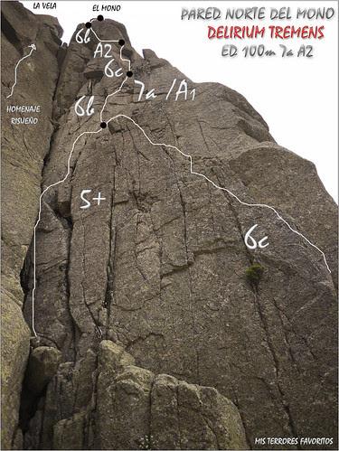CROQUIS  VÍA DELIRIUM TREMENS - 100 m EDsup 7a A2 - PARED NORTE DEL MONO - GALAYOS