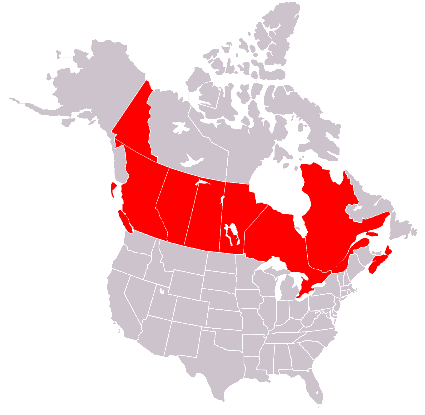 Blank us map with canada usa states and canada provinces map and info us canada maps sciox Image collections