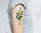 vintage blue and white floral temporary tattoo - pepperink