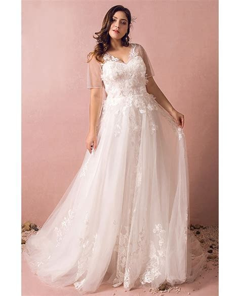 Dreamy Boho Plus Size Wedding Dress With Sleeves For Beach