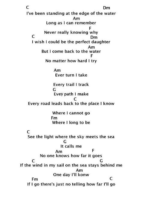 How Far Ill Go Lyrics Printable