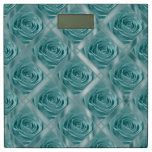 Aqua Rose, Floral Nature Photo and Satin Squares Bathroom Scale