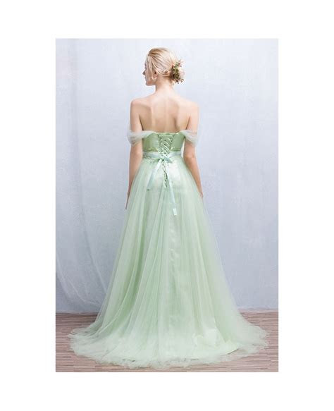 Romantic A Line Off the Shoulder Floor Length Tulle