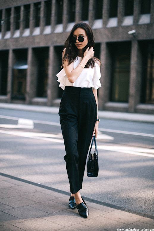 Le Fashion Blog Blogger Style Masculine Meets Feminine Look Sunglasses Sleeveless Ruffled White Top Classic Watch Leather Shoulder Bag High Waisted Cropped Black Pants Pointed Toe Loafers Via The Fashion Cuisine