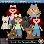 Doggies And Raggedies Clipart - CU
