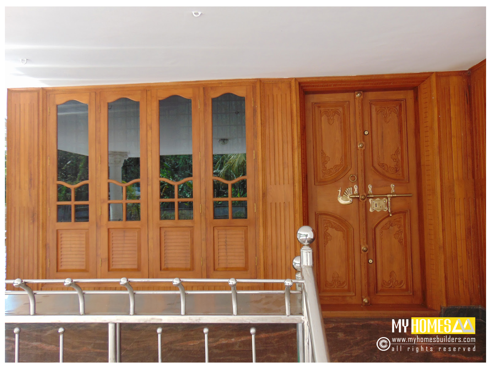 17 Front Double Door Designs In Kerala Style With