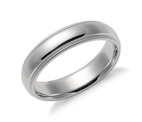 Milgrain Comfort Fit Wedding Ring in Platinum (5mm)   Blue