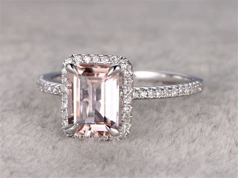 Emerald Cut Morganite Engagement Ring Diamond Wedding Band