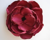 The Claire: Poppy-Red Hair Pin, Clip or Brooch Fabric Flower Rose