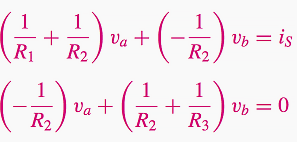 Substituting the expression for the three currents in the nodal equations - reformulated